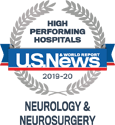 Award: US News & World Report 2019-20 High Performing Hospitals: Neurology & Neurosurgery