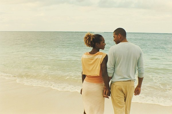 africanamerican couple on beach