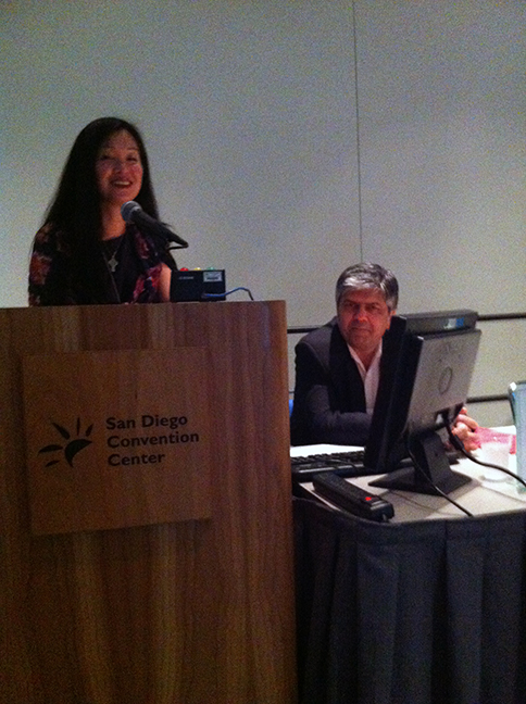 Dr. Lily Jung-Henson speaking at the AAN 65th Annual Meeting